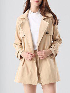 Loose Trench Coat And High Waist Shorts - Khaki S
