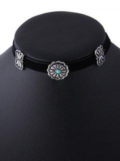Velvet Floral Choker Necklace - Black