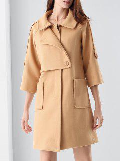 Manteau En Laine Mélangée Avec Des Poches - Kaki Xl