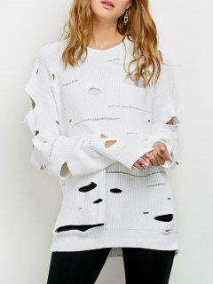 Cut Out Crew Neck Sweater - White M