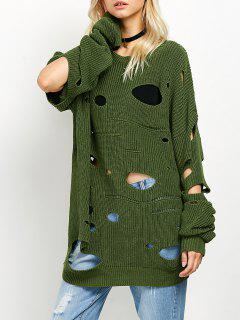 Cut Out Crew Neck Sweater - Green L