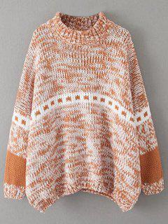 Batwing Sleeve Heathered Mock Neck Sweater - Khaki