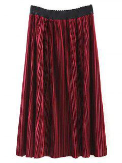 Pleated Velvet Maxi A Line Skirt - Burgundy M