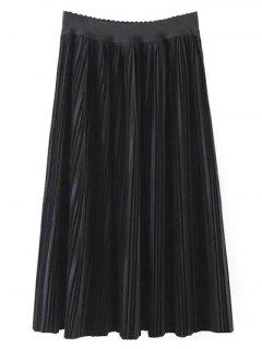Pleated Velvet Maxi A Line Skirt - Black M