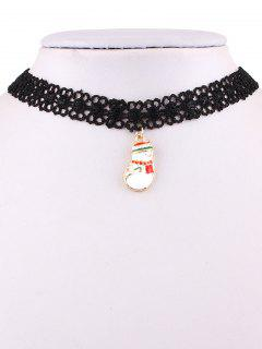 Christmas Snowman Lace Weave Necklace - Black