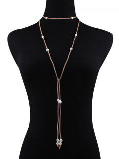 Fake Pearl Faux Leather Layered Necklace - Khaki