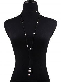 Fake Pearl Faux Leather Layered Necklace - Black
