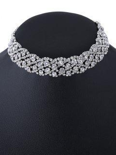 Collar Gargantilla Cristal Artificial Embellecido - Plata