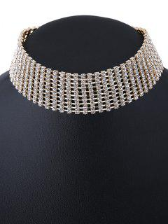 Hollowed Rhinestone Choker Necklace - Golden