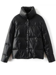 Snap Button Quilted Down Jacket - Black S