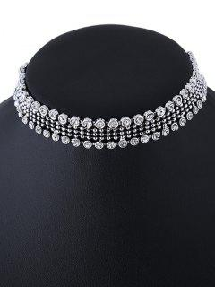 Faux Crystal Beads Choker Necklace - Silver