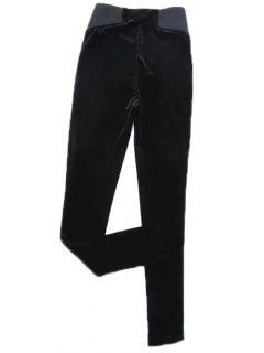 Velvet Narrow Feet Pants - Black S