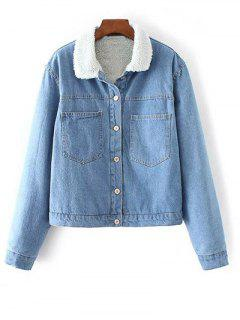 Turndown Collar Faux Shearling Cropped Denim Coat - Light Blue S