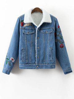 Faux Shearling Floral Embroidered Jean Coat - Denim Blue S