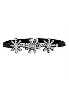 Snowflake Rhinestone Choker - White