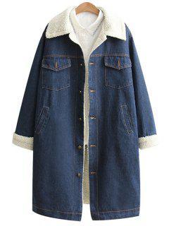 Manteau Lâche En Laine Et Jean  - Bleu S