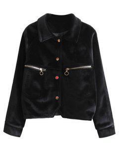 Zipper Embroidered Velvet Jacket - Black S