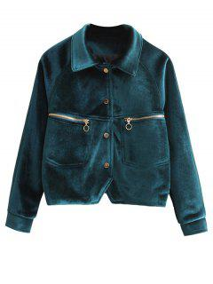 Zipper Embroidered Velvet Jacket - Blackish Green S