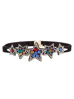 Faux Leather Star Rhinestone Necklace