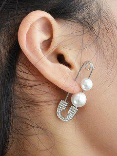 ONE PIECE Faux Pearl Rhinestone Pin Earring - Silver