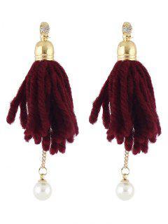 Boucles D'oreilles De Perles En Strass Et En Gland  - Rouge