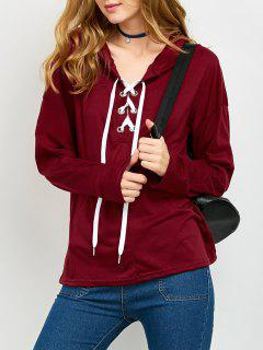 Long Sleeve Lace Up Tunique Hoodie - Rouge S