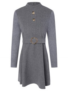 Pull-robe Col Montant Ceinture - Gris S