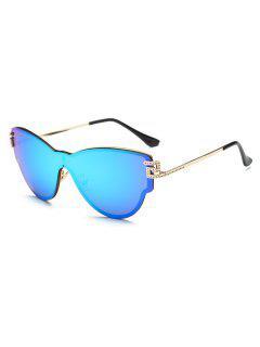 Mariposa Del Abrigo De Las Gafas De Sol De Espejo - Azul Hielo