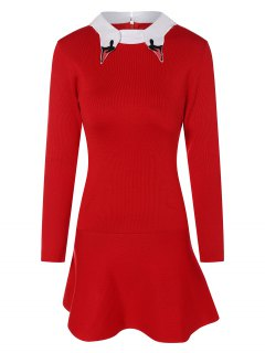 Pull-robe Brodé Col Motif Chemise - Rouge S