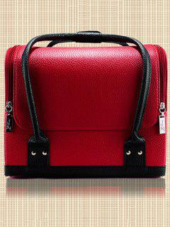Waterproof Faux Leather Makeup Case - Red