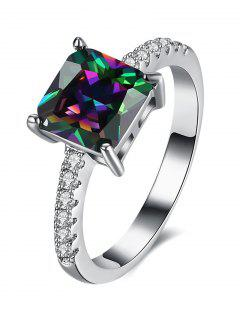 Artificial Gem Rhinestone Square Ring - Silver 8