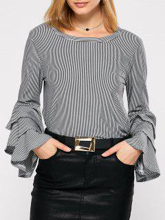 Tiered Ruffle Stripe Blouse - White And Black S