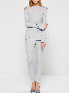 Cut Out Shoulder Sports Suit - Gray S