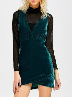Sleeveless Velvet Mini Dress - Peacock Blue S