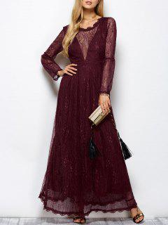 Floral Lace Evening Dress - Wine Red 2xl