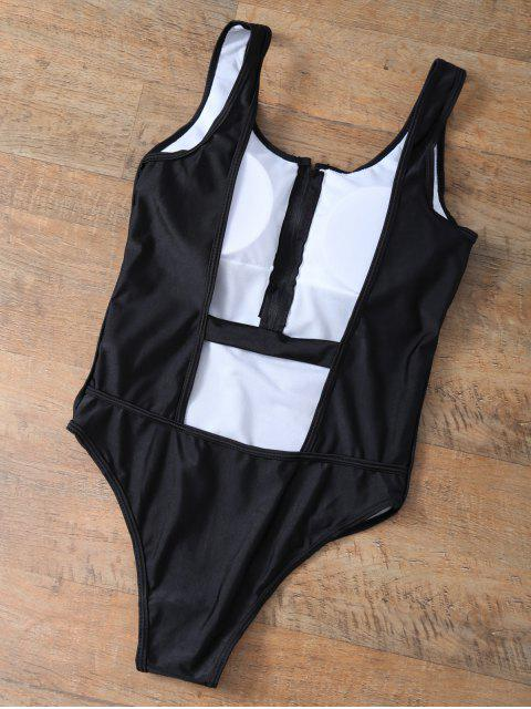 outfit Backless Zipper Front Swimsuit - BLACK L Mobile