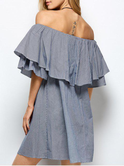 best Checked Off The Shoulder Ruffle Dress - BLUE AND WHITE M Mobile