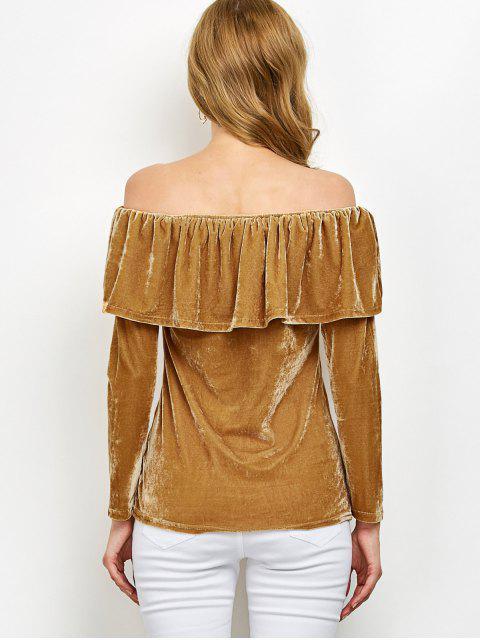 Velvet Encolure T-shirt Ruffles - Curcumae M Mobile
