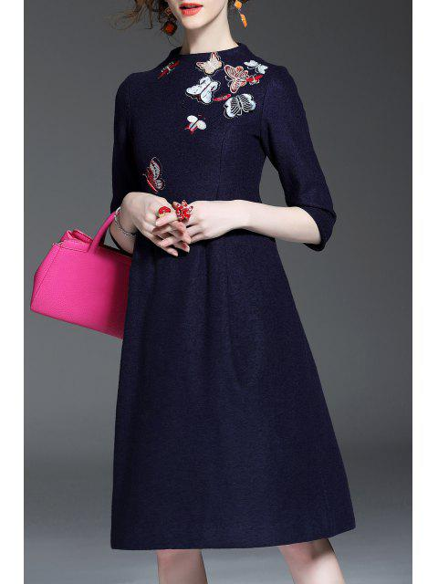 outfits Wool Blend Embroidered A Line Dress - PURPLISH BLUE M Mobile