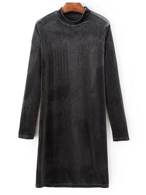 women's Mock Neck Long Sleeves Velvet Dress - GRAY S Mobile