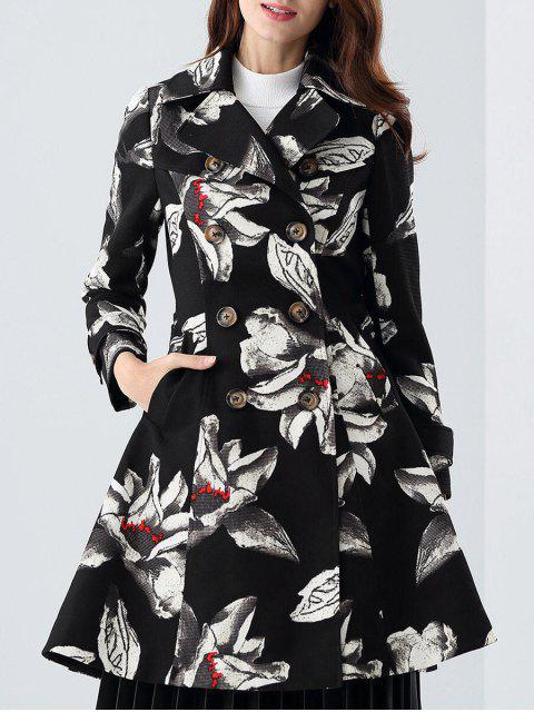 best Skirted Floral Trench Coat - BLACK S Mobile