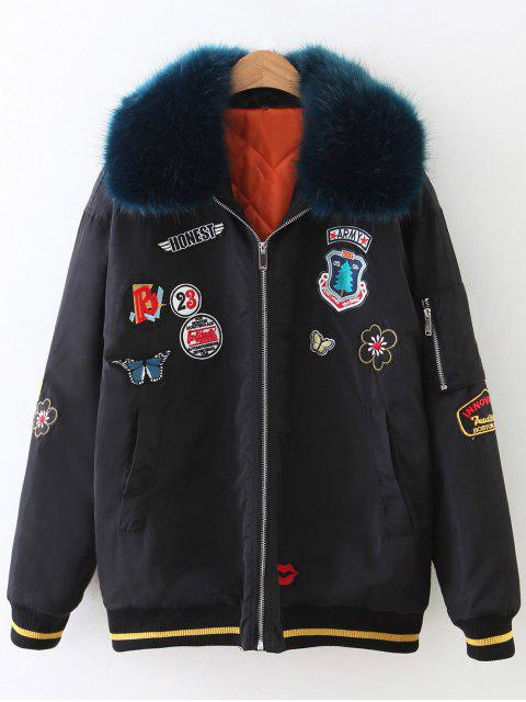 ladies Patch Design Fur Collar Padded Bomber Jacket - BLACK M Mobile