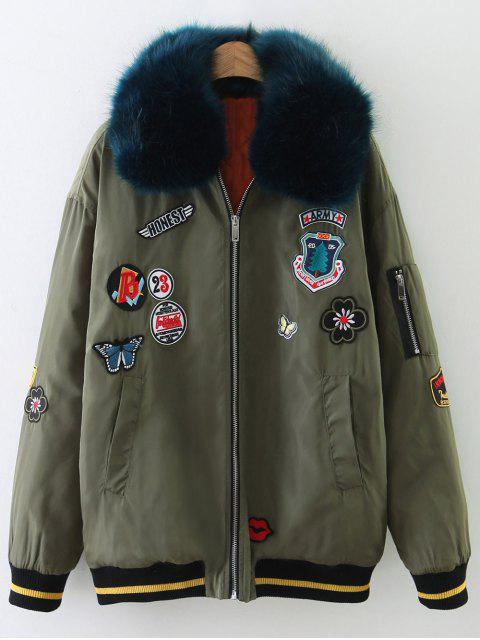 shop Patch Design Fur Collar Padded Bomber Jacket - ARMY GREEN M Mobile
