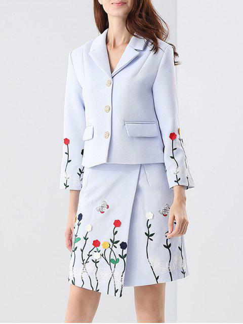women's Embroidered Jacket and Asymmetric Wrap Skirt - BLUE S Mobile