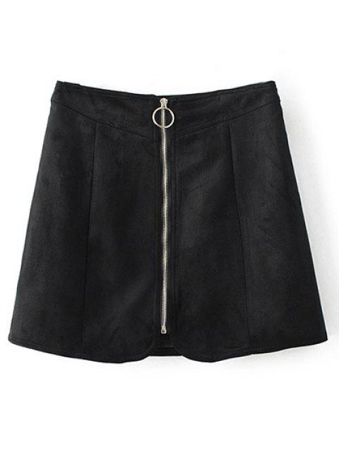 fashion Zippered Suede Mini Skirt - BLACK M Mobile