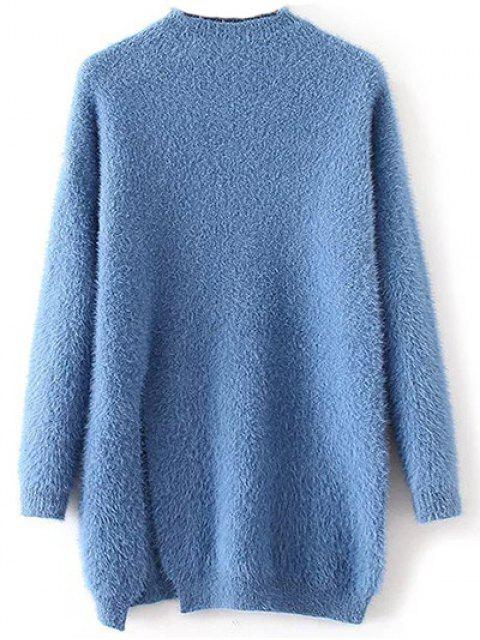 sale Slit Mock Neck Fuzzy Sweater - BLUE ONE SIZE Mobile