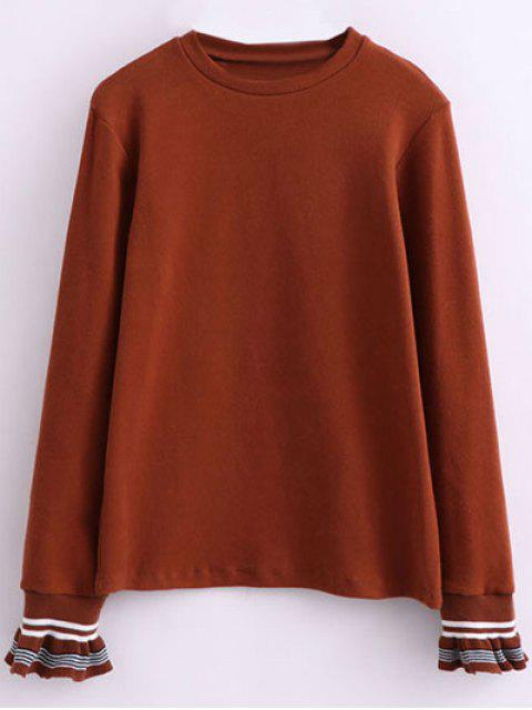 best Ruffled Sleeve Crew Neck Knitwear - DARK AUBURN ONE SIZE Mobile