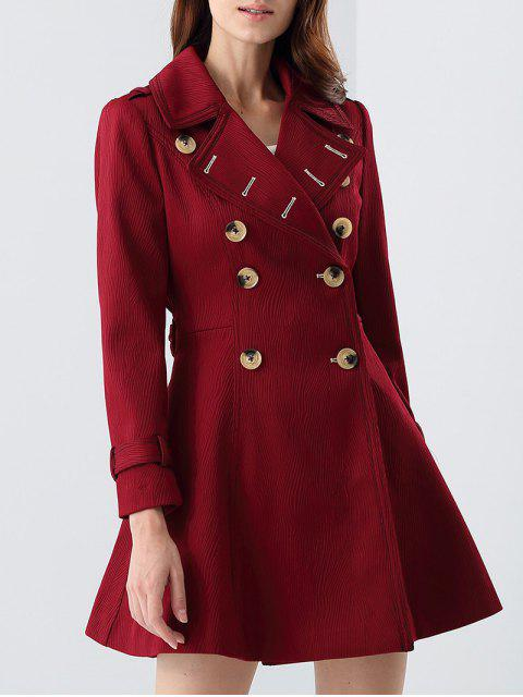 latest Double-Breasted Skirted Coat - CLARET S Mobile