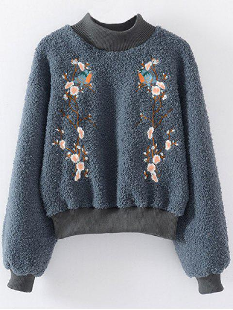 ladies Floral Embroidered Sherpa Sweatshirt - BLUE GRAY ONE SIZE Mobile