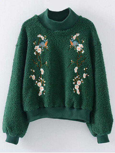 lady Floral Embroidered Sherpa Sweatshirt - GREEN ONE SIZE Mobile